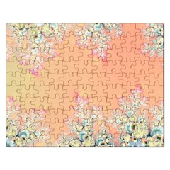 Peach Spring Frost On Flowers Fractal Jigsaw Puzzle (rectangle) by Artist4God