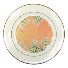 Peach Spring Frost On Flowers Fractal Porcelain Display Plate by Artist4God