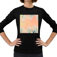 Peach Spring Frost On Flowers Fractal Women s Long Sleeve T Shirt (dark Colored) by Artist4God