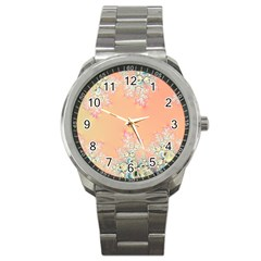 Peach Spring Frost On Flowers Fractal Sport Metal Watch by Artist4God