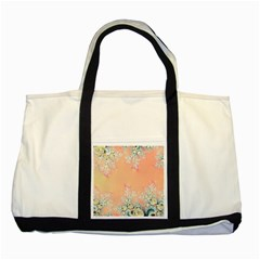 Peach Spring Frost On Flowers Fractal Two Toned Tote Bag by Artist4God