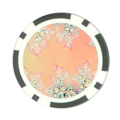 Peach Spring Frost On Flowers Fractal Poker Chip by Artist4God