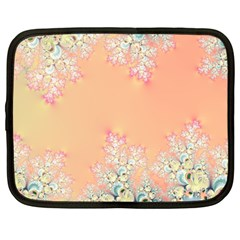 Peach Spring Frost On Flowers Fractal Netbook Sleeve (large) by Artist4God