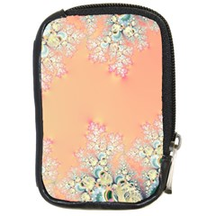 Peach Spring Frost On Flowers Fractal Compact Camera Leather Case by Artist4God