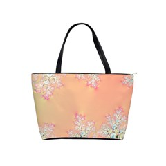 Peach Spring Frost On Flowers Fractal Large Shoulder Bag by Artist4God