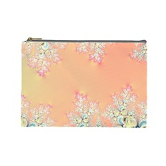 Peach Spring Frost On Flowers Fractal Cosmetic Bag (large) by Artist4God