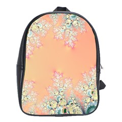 Peach Spring Frost On Flowers Fractal School Bag (large) by Artist4God