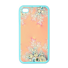 Peach Spring Frost On Flowers Fractal Apple Iphone 4 Case (color)