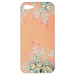 Peach Spring Frost On Flowers Fractal Apple Iphone 5 Hardshell Case by Artist4God