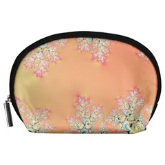 Peach Spring Frost On Flowers Fractal Accessory Pouch (large) by Artist4God