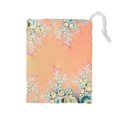 Peach Spring Frost On Flowers Fractal Drawstring Pouch (large) by Artist4God