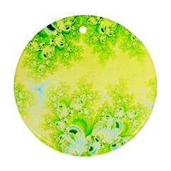 Sunny Spring Frost Fractal Round Ornament by Artist4God