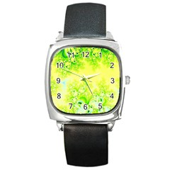 Sunny Spring Frost Fractal Square Leather Watch by Artist4God
