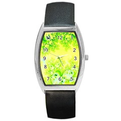 Sunny Spring Frost Fractal Tonneau Leather Watch by Artist4God