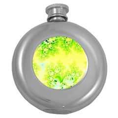 Sunny Spring Frost Fractal Hip Flask (round) by Artist4God