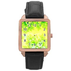 Sunny Spring Frost Fractal Rose Gold Leather Watch  by Artist4God