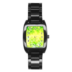 Sunny Spring Frost Fractal Stainless Steel Barrel Watch by Artist4God