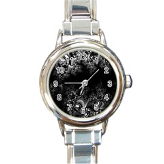 Midnight Frost Fractal Round Italian Charm Watch by Artist4God