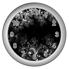 Midnight Frost Fractal Wall Clock (silver) by Artist4God