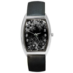 Midnight Frost Fractal Tonneau Leather Watch by Artist4God