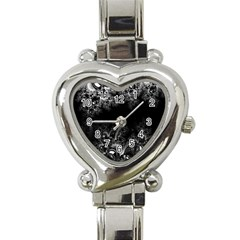 Midnight Frost Fractal Heart Italian Charm Watch  by Artist4God