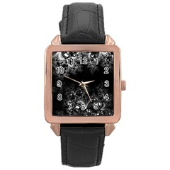 Midnight Frost Fractal Rose Gold Leather Watch  by Artist4God