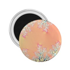 Peach Spring Frost On Flowers Fractal 2 25  Button Magnet by Artist4God