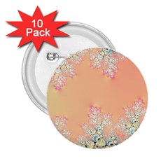 Peach Spring Frost On Flowers Fractal 2 25  Button (10 Pack) by Artist4God