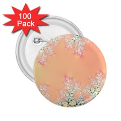 Peach Spring Frost On Flowers Fractal 2 25  Button (100 Pack)