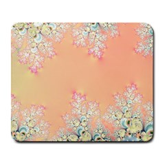 Peach Spring Frost On Flowers Fractal Large Mouse Pad (rectangle) by Artist4God