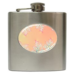 Peach Spring Frost On Flowers Fractal Hip Flask by Artist4God
