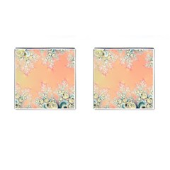 Peach Spring Frost On Flowers Fractal Cufflinks (square) by Artist4God