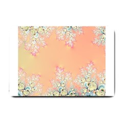 Peach Spring Frost On Flowers Fractal Small Door Mat by Artist4God