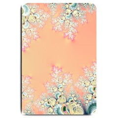 Peach Spring Frost On Flowers Fractal Large Door Mat by Artist4God
