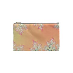 Peach Spring Frost On Flowers Fractal Cosmetic Bag (small)