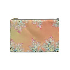 Peach Spring Frost On Flowers Fractal Cosmetic Bag (medium) by Artist4God