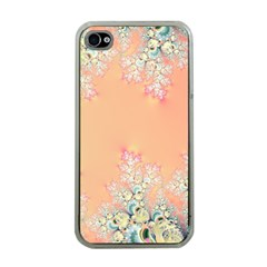 Peach Spring Frost On Flowers Fractal Apple Iphone 4 Case (clear) by Artist4God