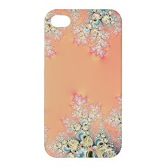 Peach Spring Frost On Flowers Fractal Apple Iphone 4/4s Premium Hardshell Case by Artist4God