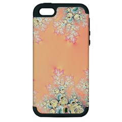 Peach Spring Frost On Flowers Fractal Apple Iphone 5 Hardshell Case (pc+silicone) by Artist4God