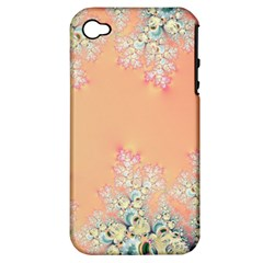 Peach Spring Frost On Flowers Fractal Apple Iphone 4/4s Hardshell Case (pc+silicone) by Artist4God