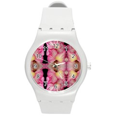 Pink Gladiolus Flowers Plastic Sport Watch (medium) by Artist4God