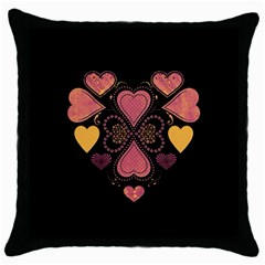 Love Collage Black Throw Pillow Case