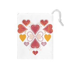 Love Collage Drawstring Pouch (medium) by whitemagnolia