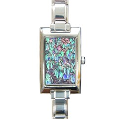 Colored Pencil Tree Leaves Drawing Rectangular Italian Charm Watch by LokisStuffnMore