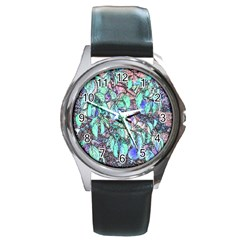Colored Pencil Tree Leaves Drawing Round Leather Watch (silver Rim) by LokisStuffnMore