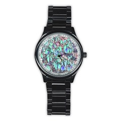 Colored Pencil Tree Leaves Drawing Sport Metal Watch (black) by LokisStuffnMore