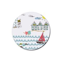 Summer Holiday Drink Coaster (round) by whitemagnolia