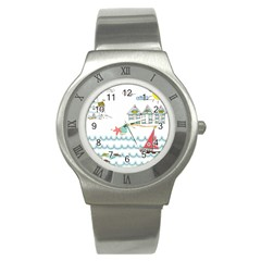 Summer Holiday Stainless Steel Watch (slim) by whitemagnolia