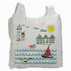 Summer Holiday White Reusable Bag (one Side) by whitemagnolia