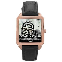m.g firetested Rose Gold Leather Watch
